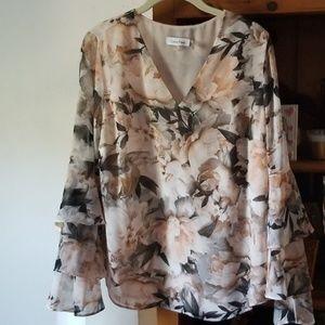 Calvin Klein floral shirt long cascading sleeve